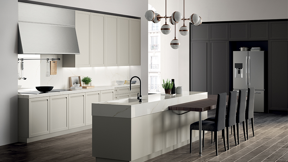 Modern kitchens with a snack top